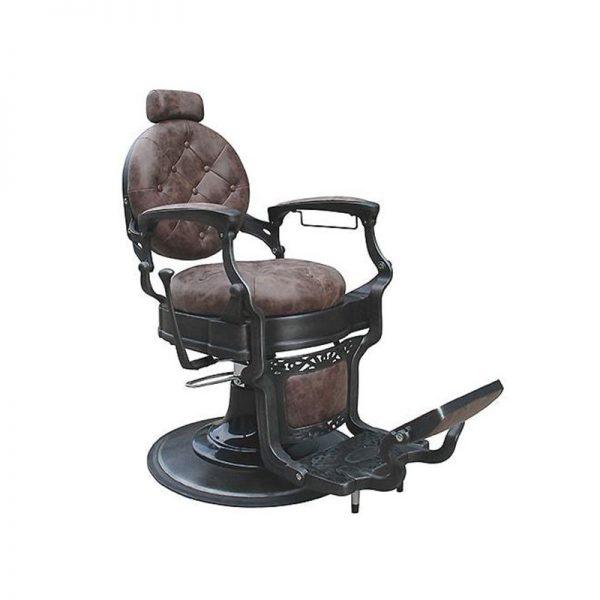 "Бръснарски стол ""Барок"", тъмно кафяво"