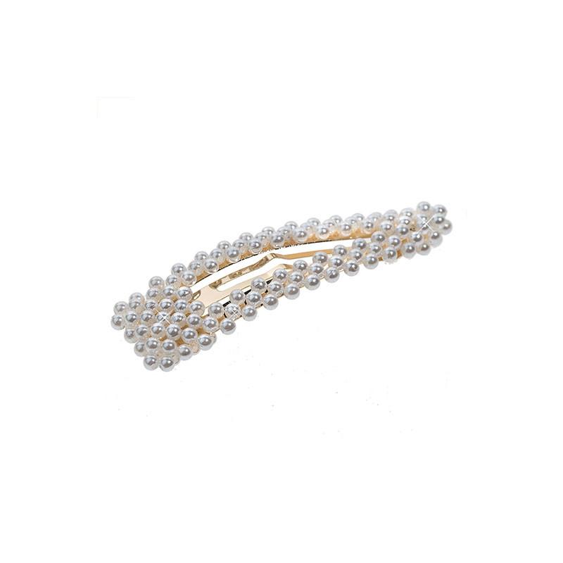 Шнола с бели перли 8 см