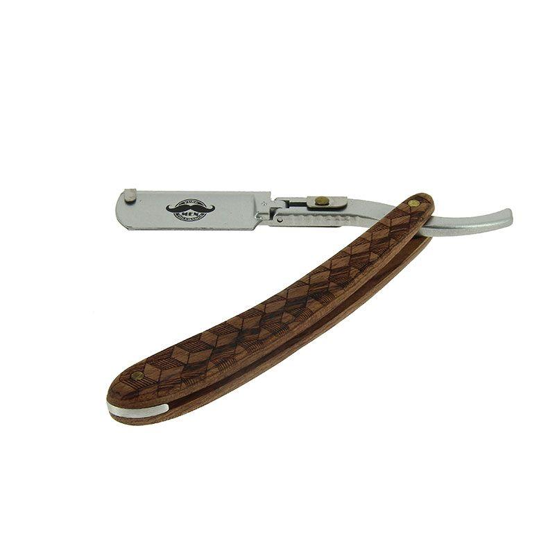 Бръснач с кафява дървена дръжка