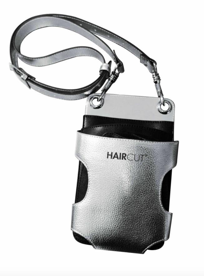 Haircut Сребриста кожена чанта за фризьорски инструменти